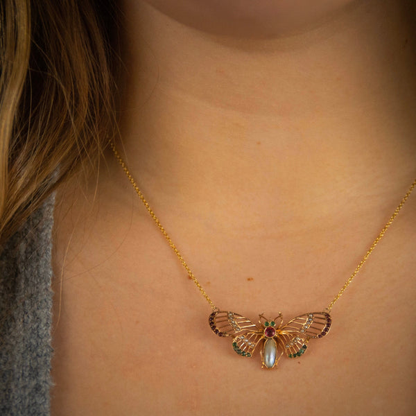 Butterfly Necklace | 14k Gold Butterfly | Antique Butterfly Necklace | Pin Conversion