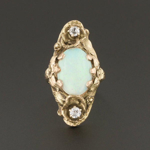 Antique Opal Ring | Opal & White Sapphire Ring-Trademark Antiques