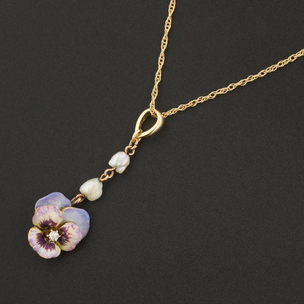 Antique Pansy Necklace | Diamond Pansy with Pearl | 14k Pansy Necklace