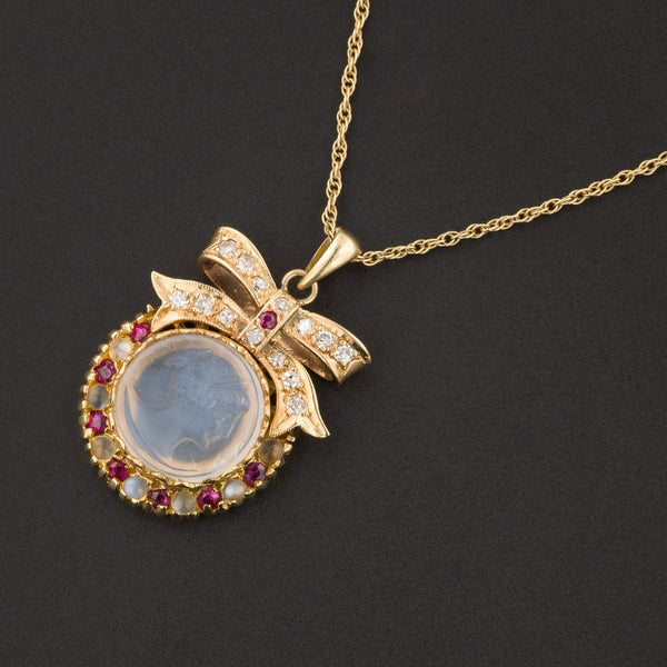 Moonstone Cameo Necklace | Moonstone Diamond & Ruby Pendant Necklace-Trademark Antiques