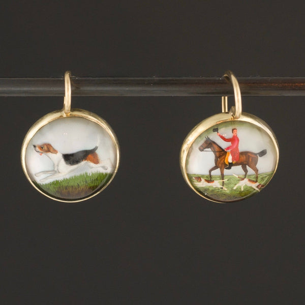 Reverse Painted Crystal Earrings | 14k Gold Earrings | Fox Hunt Scene Earrings | Horse Earrings | Foxhound Earrings