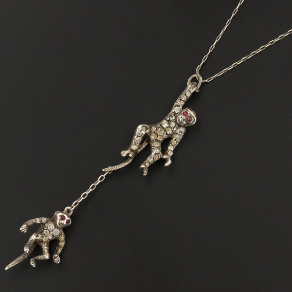 Antique Monkey Necklace | Sterling Silver Paste Glass Monkey Necklace | Silver Necklace