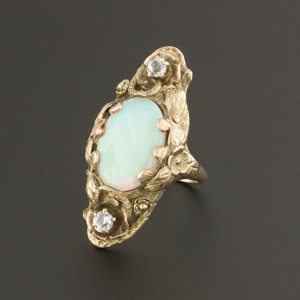Antique Opal Ring | Opal & White Sapphire Ring | 14k Gold Ring