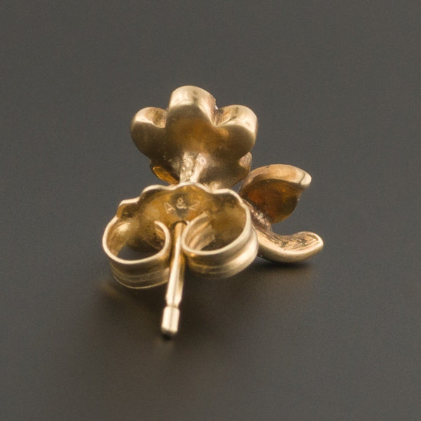 14k Gold & Pearl Flower Earring | Antique Stick Pin Conversion Earring-Trademark Antiques