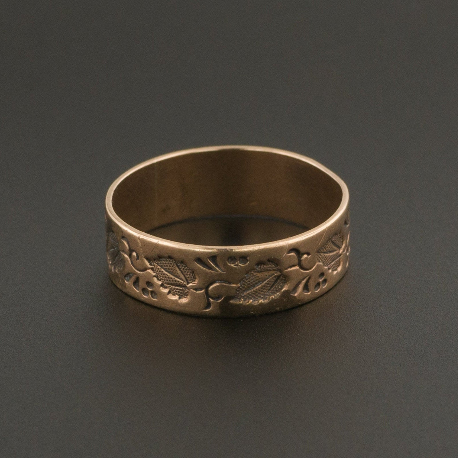Antique Cigar Band Ring | 10k Rose Gold Band | 10k Gold Ring