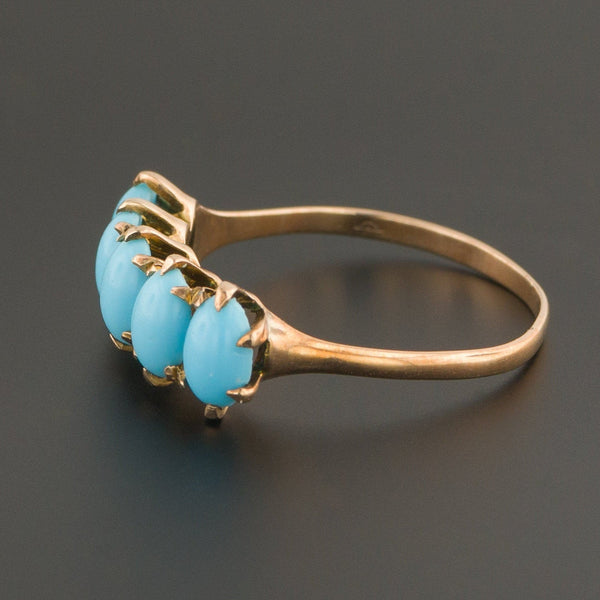 10k Gold Turquoise Glass Ring | Antique Turquoise Glass Ring | 10k Gold Ring | Turquoise Glass Row Ring