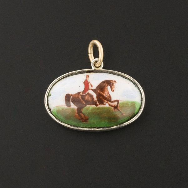 Enamel Fox Hunt Scene Charm or Pendant | Horse Pendant-Trademark Antiques