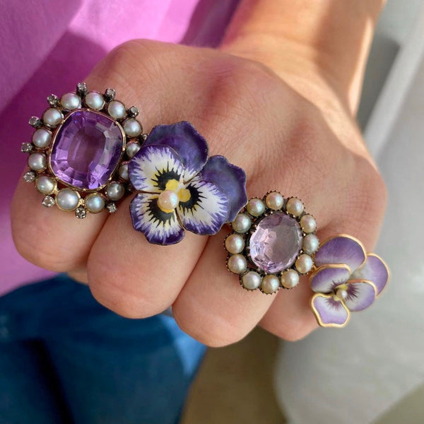 Purple Pansy Ring | 14k Gold Ring-Trademark Antiques