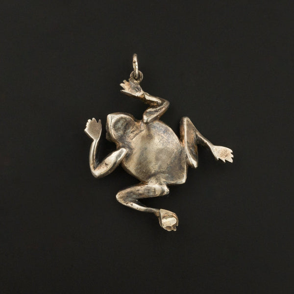 Silver Frog Pendant or Charm | Antique Pin Conversion-Trademark Antiques