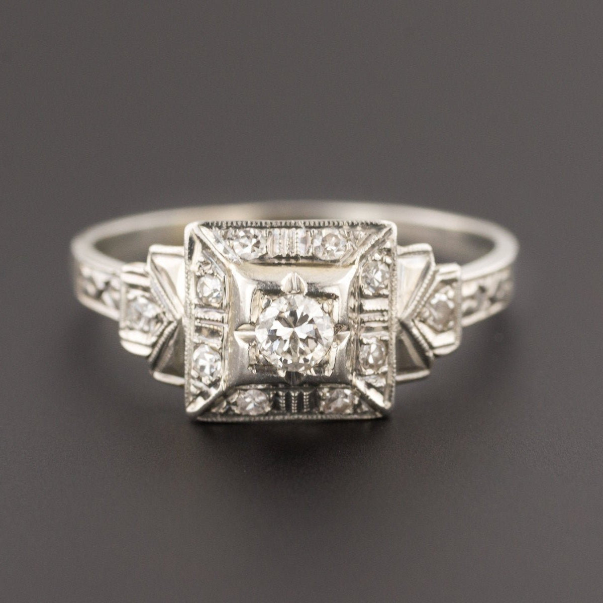Art Deco Diamond Ring | 18k White Gold Ring-Trademark Antiques