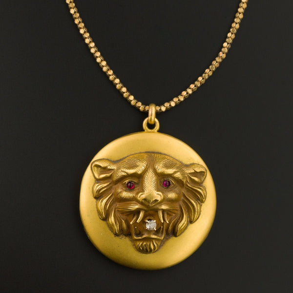Lion Locket | Antique Lion Locket | 9ct Gold Locket on Optional 14k Chain | Antique Gold Lion Locket Pendant | Antique Locket