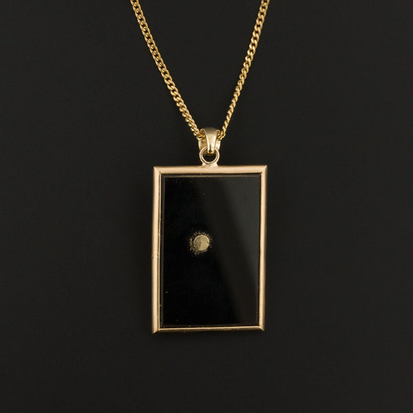 Sweet Pea Pendant| Onyx Pendant | 14k Gold Pendant on Optional 9ct Chain | Gold Flower Pendant | Antique Pin Conversion