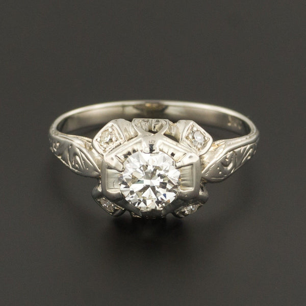 Art Deco Engagement Ring | Vintage Engagement Ring | 20k White Gold Ring | Diamond Wedding Ring |