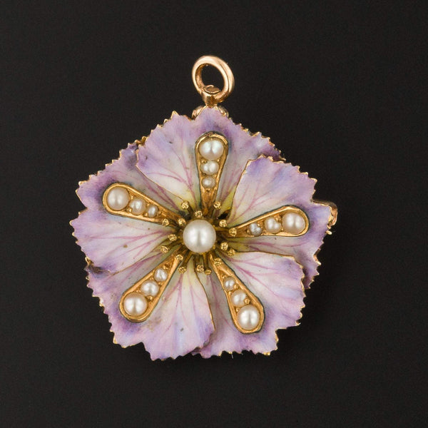 Purple Flower Brooch or Pendant | Antique Enamel Flower-Trademark Antiques