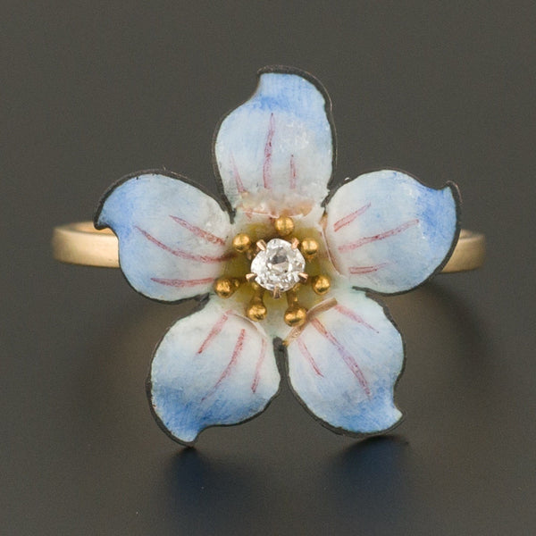 14k Gold Enamel and Diamond Flower Ring | Antique Pin Conversion Ring-Trademark Antiques
