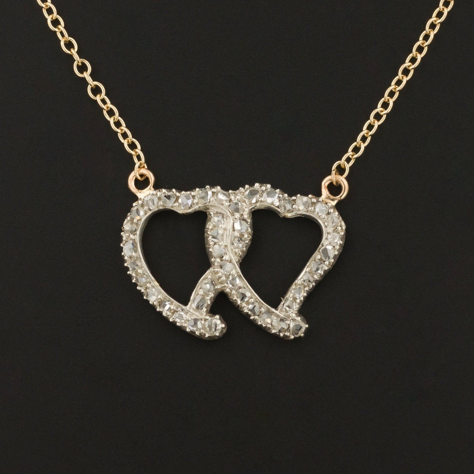 Diamond Entwined Hearts Necklace | Diamond Double Heart Necklace |  Love Token Necklace | Unique Necklace | 14k Gold Necklace