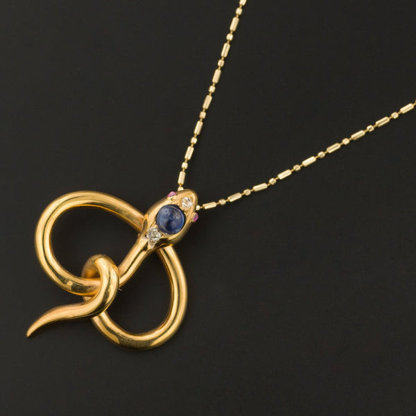 Antique Sapphire & Diamond Snake Pendant | 18k Gold Pin Conversion Pendant-Trademark Antiques