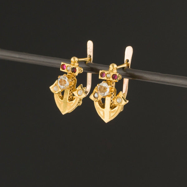 Antique Anchor Earrings | 14k Gold Anchor Earrings with Paste Accents-Trademark Antiques