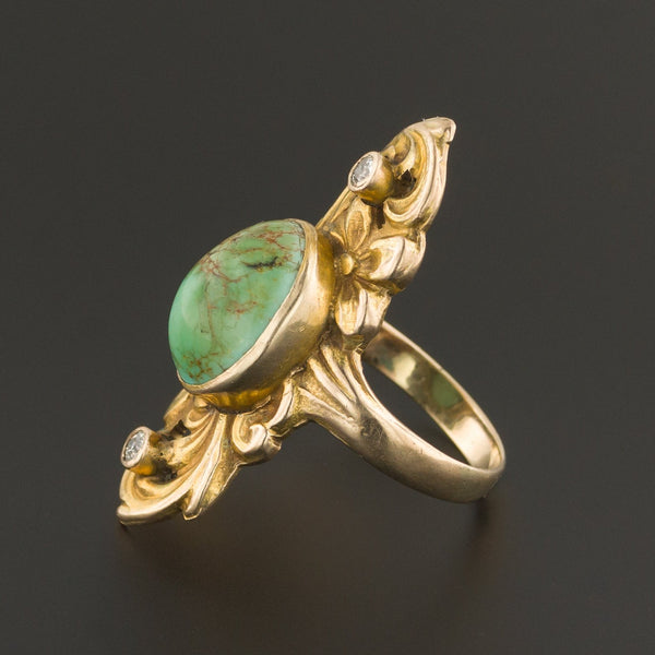 Antique Turquoise & Diamond Ring | Turquoise Ring-Trademark Antiques