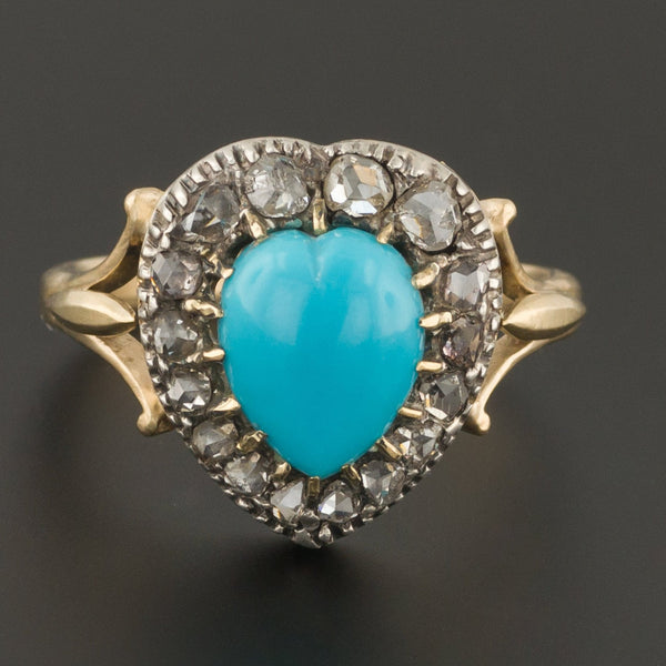 Turquoise & Diamond Heart Ring | Heart Ring-Trademark Antiques