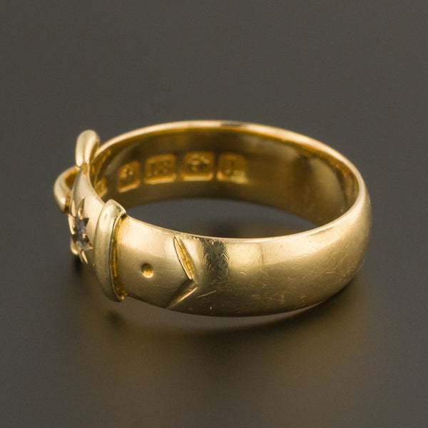 Antique Buckle Ring | 18k Gold Buckle Ring | Diamond Buckle Ring | Antique Ring | 18k Gold Ring
