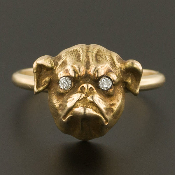 Bulldog Ring | 14k Gold & Diamond Bulldog Ring | 14k Gold Dog Ring | 14k Gold Bulldog Ring | Antique Pin Conversion Ring