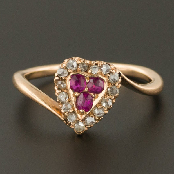 Heart Ring | Ruby & Diamond Heart Ring | 14k Gold Ring | Antique Ring | Victorian Ring