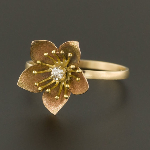Diamond Flower Ring | Gold Flower Ring | 14k Gold Ring | Antique Pin Conversion Ring | Diamond Ring