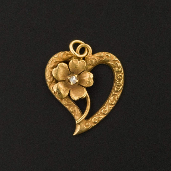 Heart Charm | Antique Heart Charm | 10k Gold Charm | Pin Conversion | Love Token