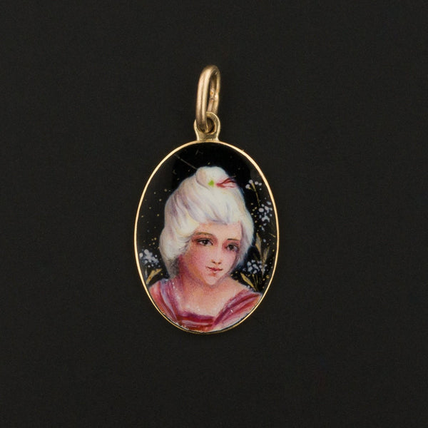 Antique Enamel Woman Charm | Antique Enamel Charm | 14k Gold Charm | Stick Pin Conversion Charm