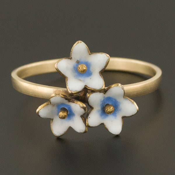 Enamel Flower Ring | Antique Stick Pin Ring | Conversion Ring | 14k Gold Flower Ring | 14k Gold Ring