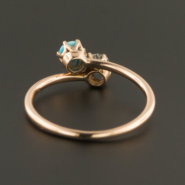 Antique Turquoise and Diamond Ring | Toi et Moi Ring-Trademark Antiques