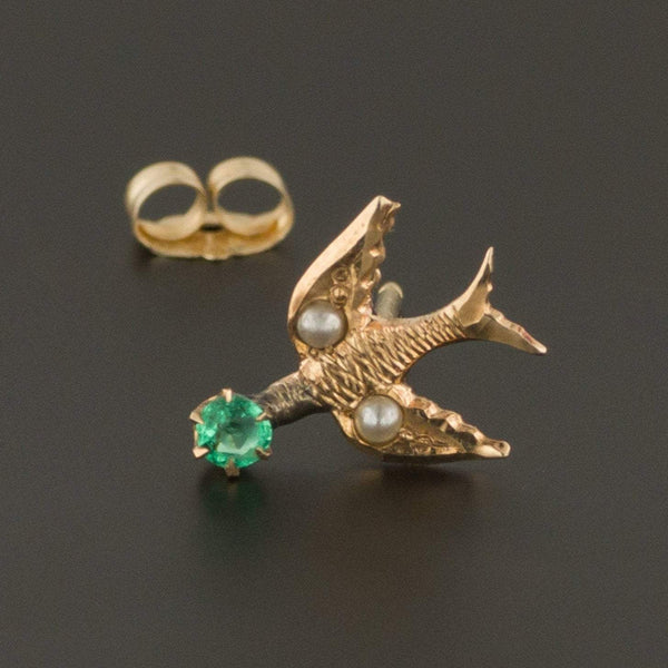 Bird Earring | Single Stud Earring | Antique Pin Conversion | 10k Gold Earring with Pearls & Green Glass