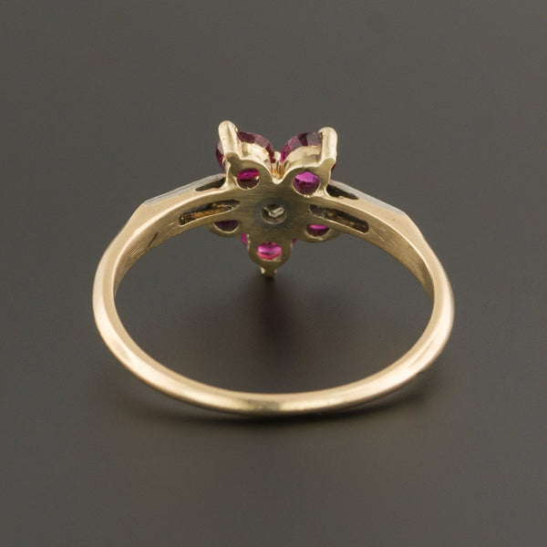 Ruby & Diamond Flower Ring | Ruby Ring-Trademark Antiques