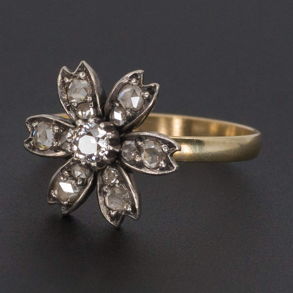 Diamond Flower Ring | Antique Flower Ring-Trademark Antiques