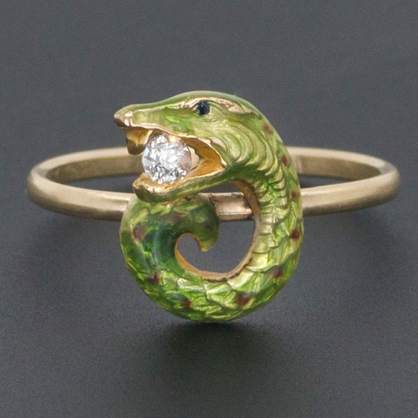 Snake Ring | Enamel & Diamond Snake Ring-Trademark Antiques
