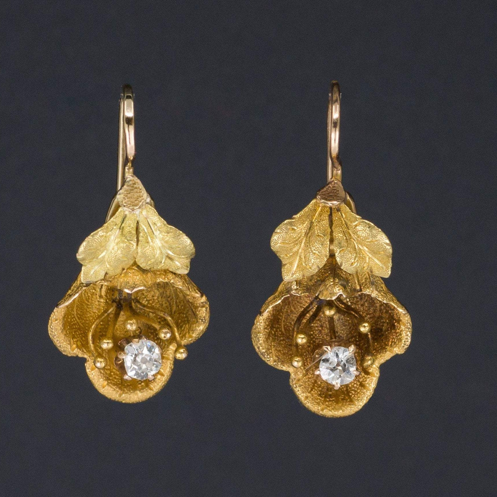 Diamond Flower Earrings | Antique Flower Earrings | 14k Gold Flower Earrings | Bridal earrings