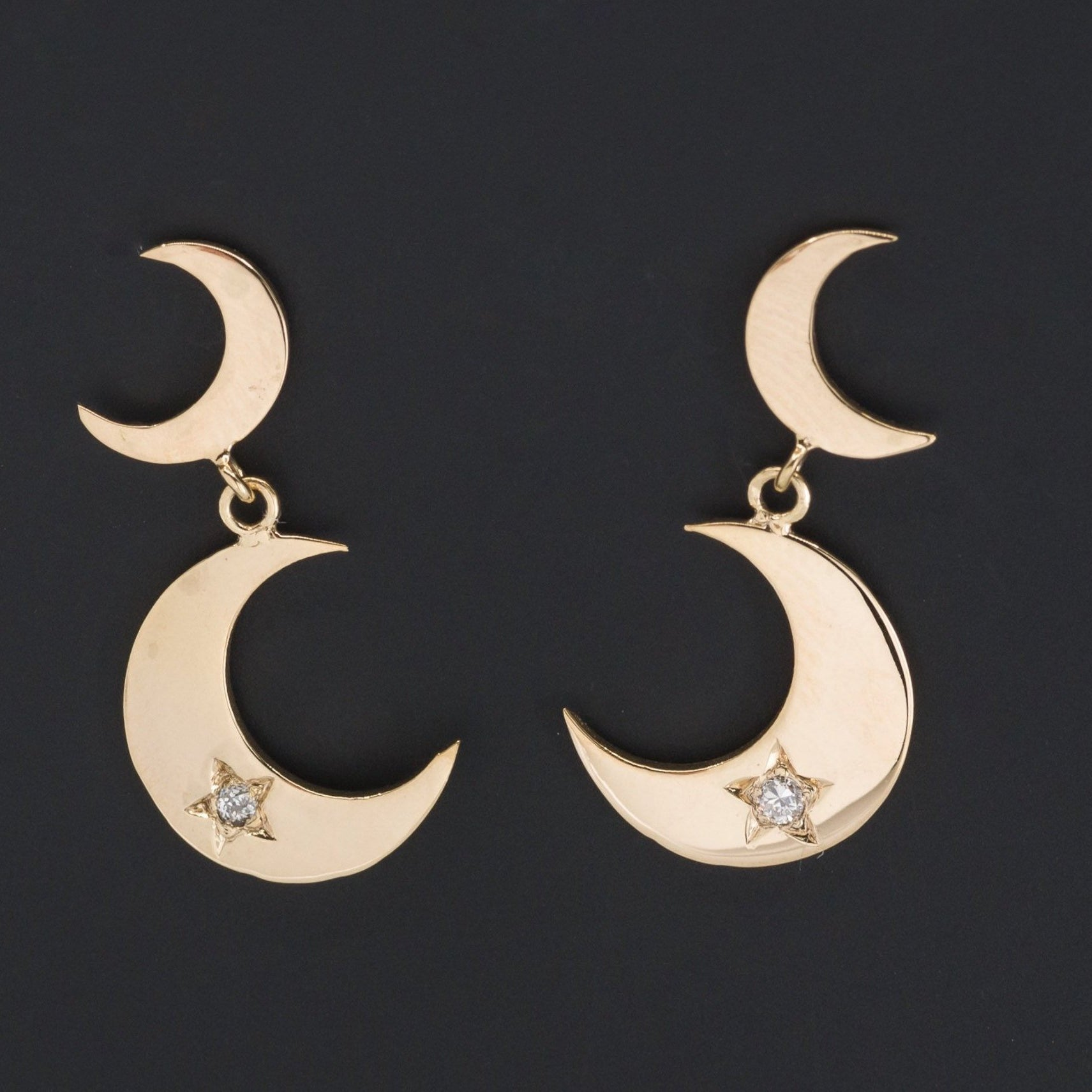 Crescent Moon Earrings | Diamond Crescent Earrings | Diamond Moon and Star Earrings | Celestial Earrings | 18k Gold Earrings