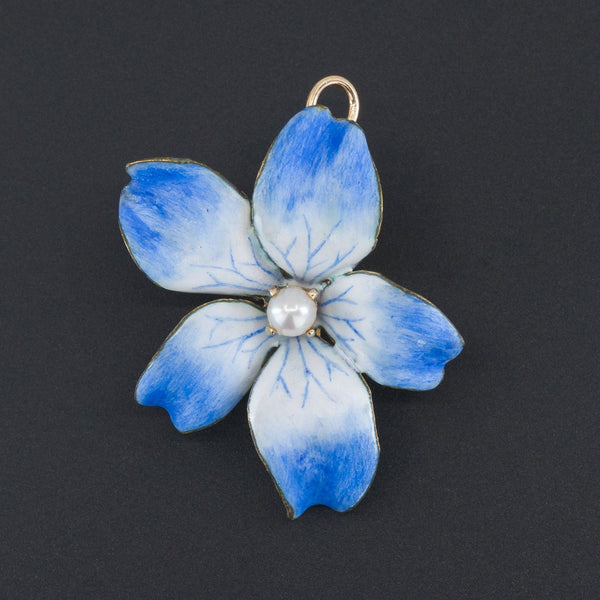 Blue Violet Brooch or Pendant | Vintage Blue Violet Flower-Trademark Antiques