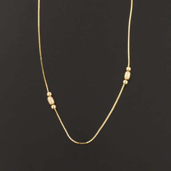 Vintage Gold Necklace | 14k Gold Bead Necklace-Trademark Antiques