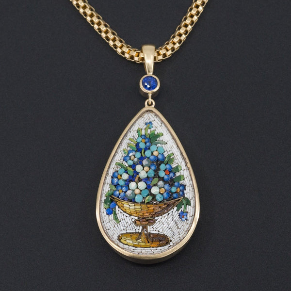 Antique Micromosaic Pendant | Antique Forget-Me-Not Flower Pendant with Sapphire-Trademark Antiques