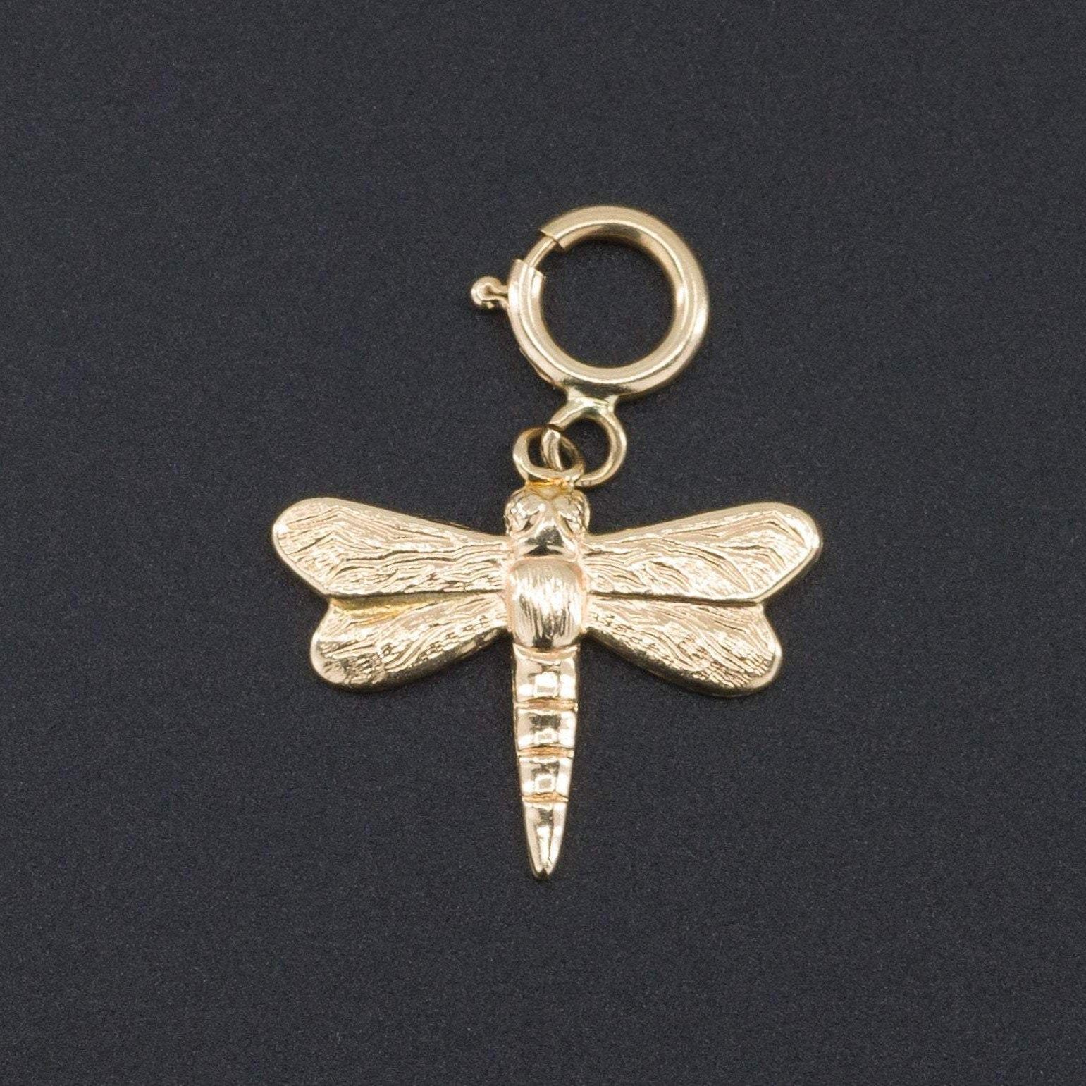 14k Gold Dragonfly Charm | Dragonfly Charm | Vintage Dragonfly Charm or Pendant