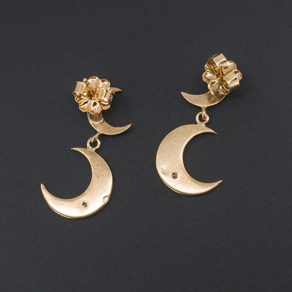 Crescent Moon Earrings | Diamond Crescent Earrings-Trademark Antiques