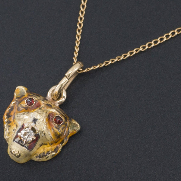 Antique Tiger Pendant Necklace | 10k Gold Tiger Pendant with Optional 14k Chain-Trademark Antiques