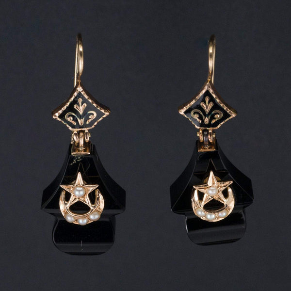 Antique Onyx Earrings | Antique Crescent Moon & Star Earrings-Trademark Antiques