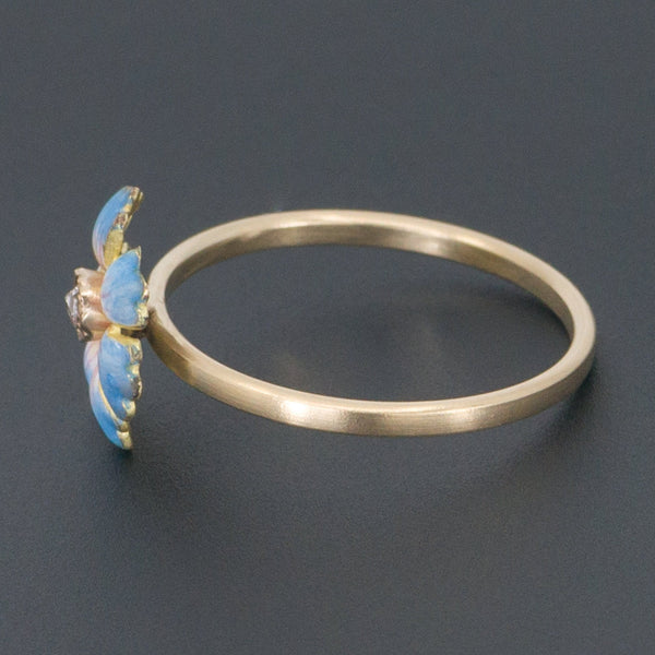 Enamel Flower Ring | Antique Pin Conversion Ring-Trademark Antiques