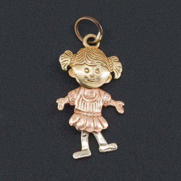 Vintage Doll Charm | 14k Gold Charm-Trademark Antiques