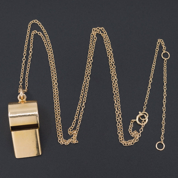 Gold Whistle | Vintage Gold Whistle Pendant-Trademark Antiques