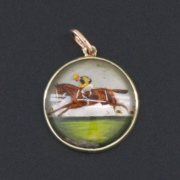 Horse Charm | Antique Reverse Painted Crystal Horse Charm-Trademark Antiques