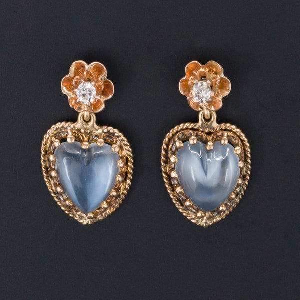 Moonstone Heart Earrings | Moonstone & Diamond Earrings-Trademark Antiques